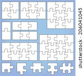 Puzzle set: 1, 2, 3, 4, 6, 8, 9, 12 pieces - stock vector