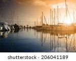 yachts in the harbor | Shutterstock . vector #206041189