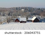 winter landscape with a... | Shutterstock . vector #206043751