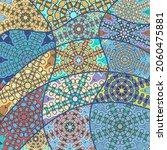 vector patchwork quilt pattern. ... | Shutterstock .eps vector #2060475881