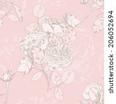 seamless pattern with roses....   Shutterstock .eps vector #206052694