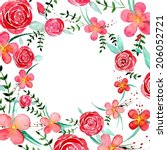 watercolor flowers circle frame ... | Shutterstock .eps vector #206052721