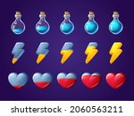 game icons of heart  lightning...