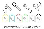 pizza knife vector icon in tag...