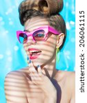 colorful summer portrait of... | Shutterstock . vector #206061115
