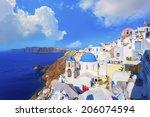 santorini island in greece  | Shutterstock . vector #206074594