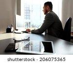 Silhouette Of Businessman Usin...