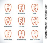 vector smiles icons ... | Shutterstock .eps vector #206081989