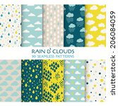 10 seamless patterns. rain and... | Shutterstock .eps vector #206084059