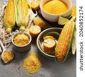 Corncobs And Corn Groats On...