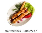 grilled meat isolated on the white background - stock photo