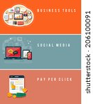icons for business tools  seo ... | Shutterstock . vector #206100091