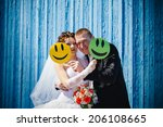 bride and groom at wedding day... | Shutterstock . vector #206108665