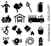 fire safety icon set in black | Shutterstock .eps vector #206111497