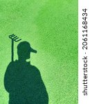 Shadow Of A Gardener On A Green ...