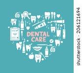 dental care symbols in the... | Shutterstock .eps vector #206121694