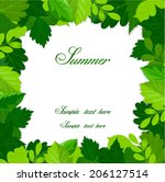 summer green leaves frame  | Shutterstock .eps vector #206127514
