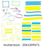 yellow highlight marker lines.... | Shutterstock . vector #2061309671