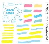 marker marks. yellow marker... | Shutterstock . vector #2061309677