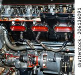old aircraft engine close up... | Shutterstock . vector #206136091