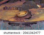 A Cap Of A Old Oil Tank Was...