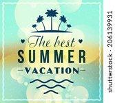 retro summer holidays poster.... | Shutterstock .eps vector #206139931