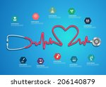 heart beat line of stethoscope... | Shutterstock .eps vector #206140879