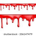 red blood drips seamless... | Shutterstock .eps vector #206147479