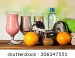 healthy diet  protein shakes ... | Shutterstock . vector #206147551