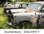 Classic Car Wreck At A Junkyard.
