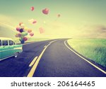 Vintage Car With Heart Balloon...