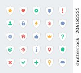 set of 25 shield icons with...
