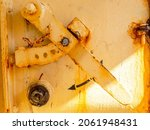 Yellow Old Rusted Marine Hatch...