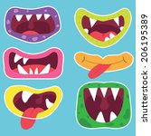 cute monster mouth | Shutterstock .eps vector #206195389