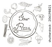 hand drawn pizza with... | Shutterstock .eps vector #206198821