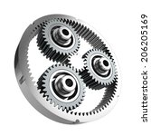 Planetary reducer from metallic gear on white background - stock photo