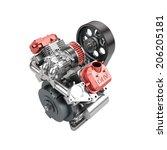 Assembled V-twin engine of large powerful motorbike isolated on white - stock photo