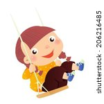 the lovely girl shakes on a... | Shutterstock .eps vector #206216485