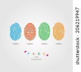 pass with fingerprint.  color... | Shutterstock .eps vector #206219947