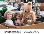 Teddies And Dolls At Flea Market