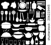 kitchen cooking icons set | Shutterstock .eps vector #206223445