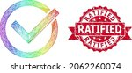 rainbow colored net accept tick ...