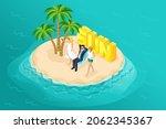 3d isometric paradise island in ... | Shutterstock .eps vector #2062345367