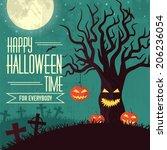 halloween time background... | Shutterstock .eps vector #206236054