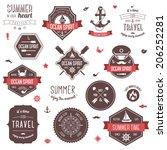 vintage labels set. summer and...   Shutterstock .eps vector #206252281