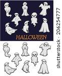 different cartoon halloween... | Shutterstock .eps vector #206254777