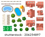 landscape  garden and... | Shutterstock .eps vector #206254897