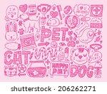 doodle pet background | Shutterstock .eps vector #206262271