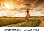 beautiful woman with old bike... | Shutterstock . vector #206264965
