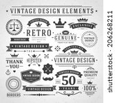 vintage vector design elements. ... | Shutterstock .eps vector #206268211